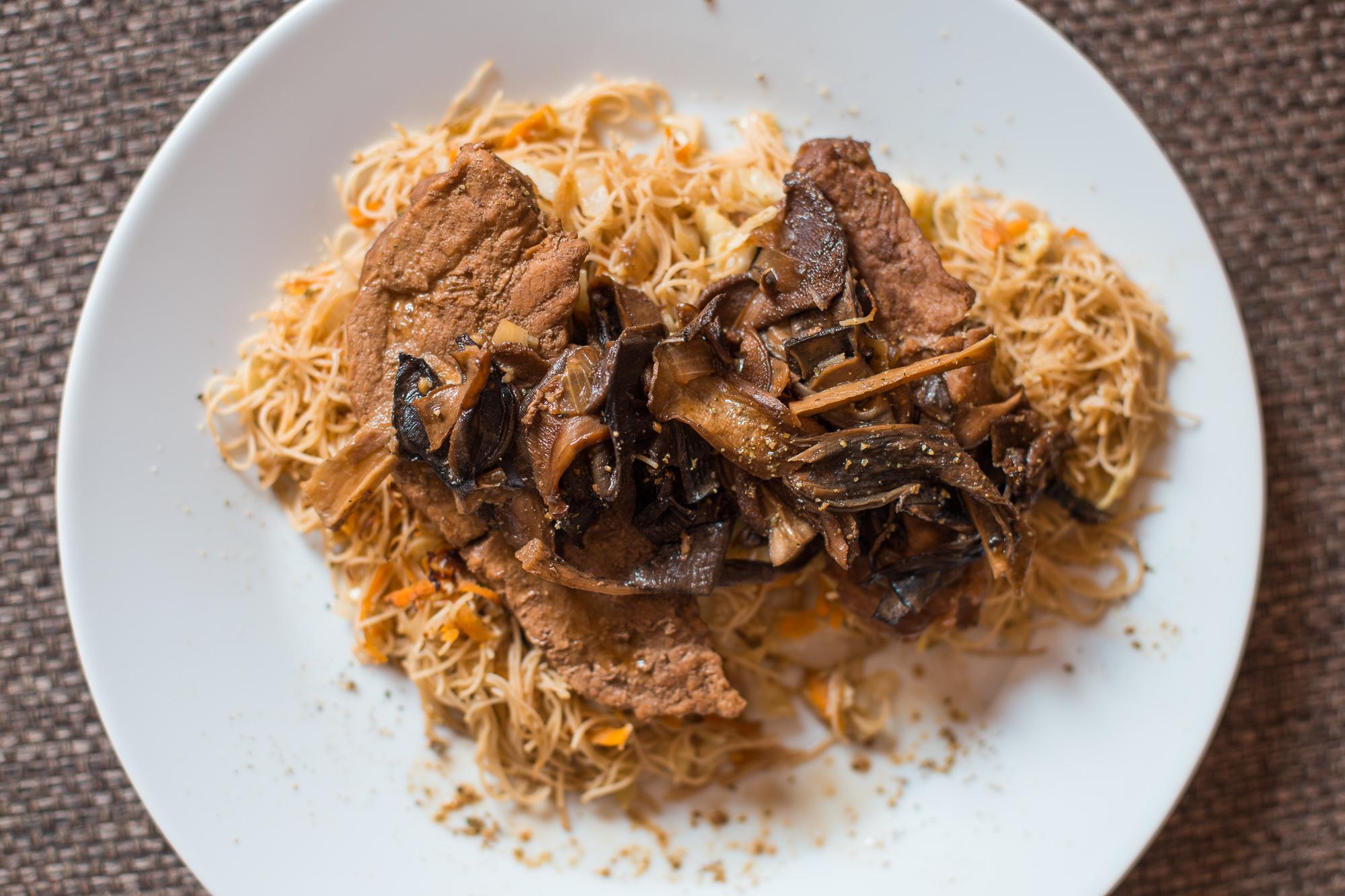 pork, mushrooms and noodles
