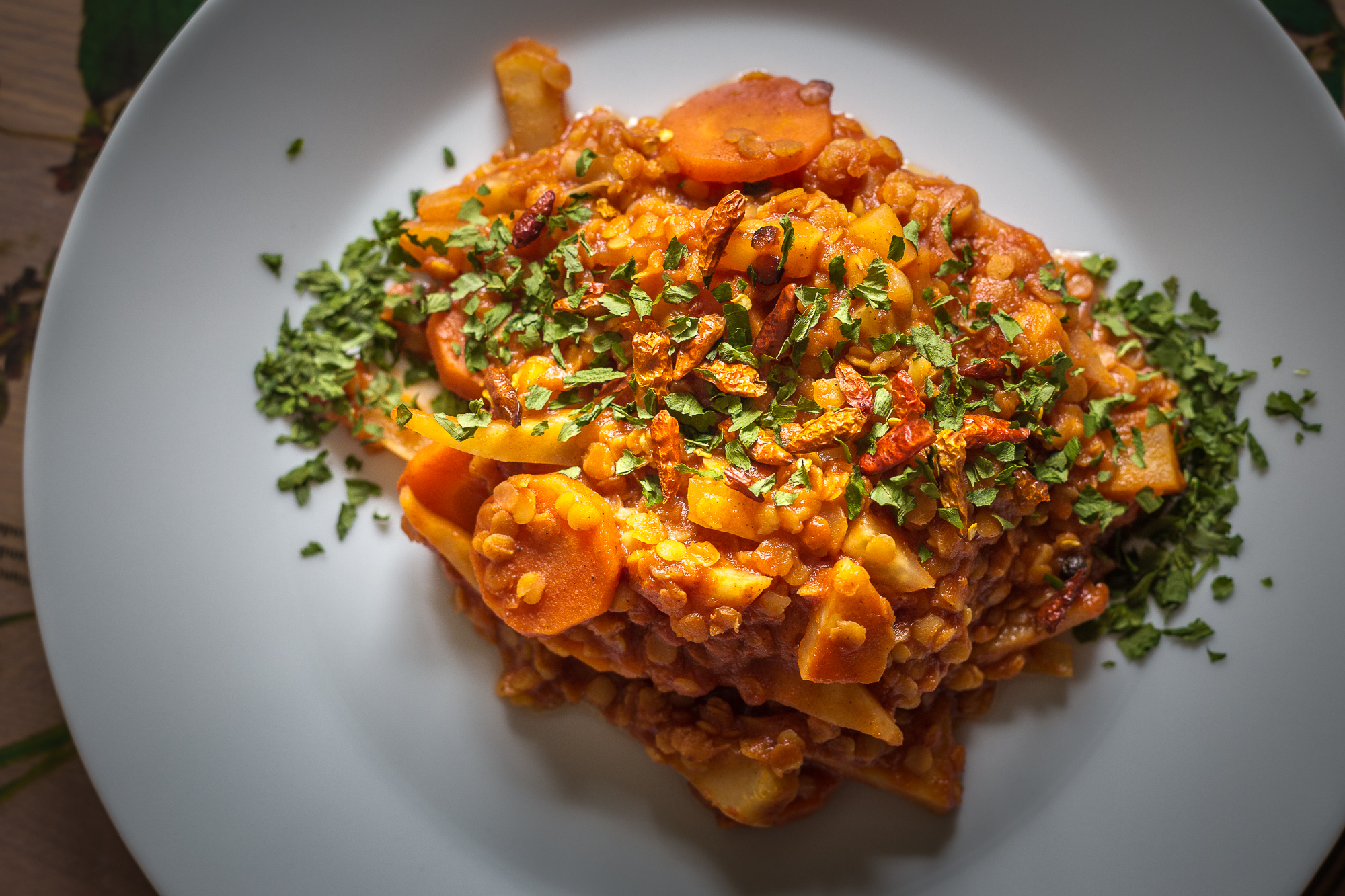 red lentil with carrot and dryed herbs